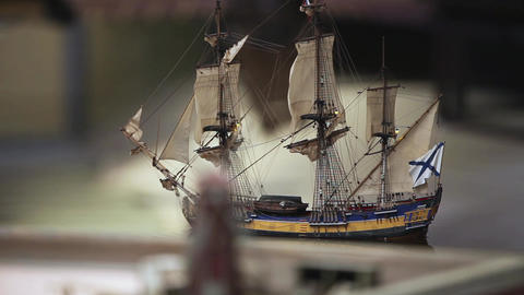 Sailing ship and a windmill Footage