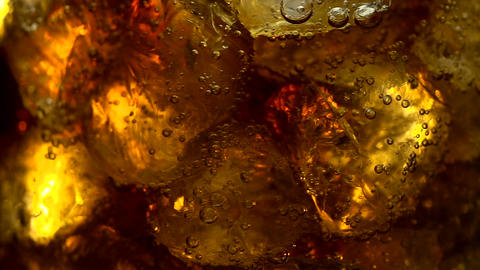 Close up view of the ice cubes in cola Footage
