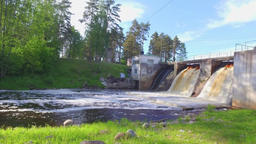 View of river and Hydroelectric Station. Slow motion footage Image