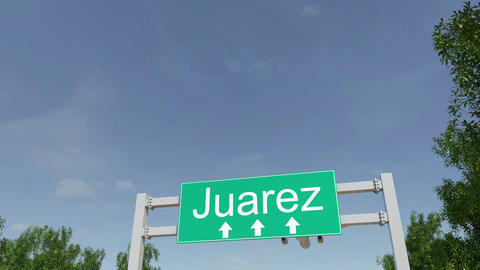 Airplane arriving to Juarez airport travelling to Mexico Footage