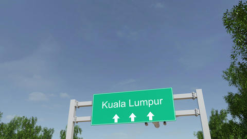 Airplane arriving to Kuala Lumpur airport travelling to Malaysia Footage