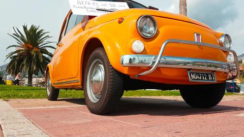 Vintage Orange Fiat 500 Tutte Footage