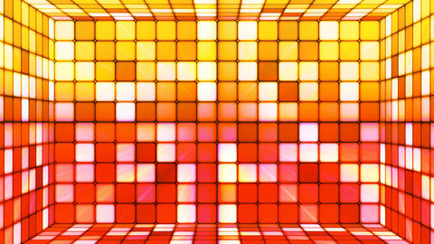Broadcast Twinkling Hi-Tech Cubes Room, Multi Color, Abstract, Loopable, 4K Animation