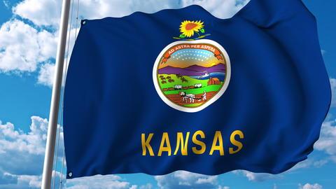 Waving flag of Kansas. 3D rendering Foto