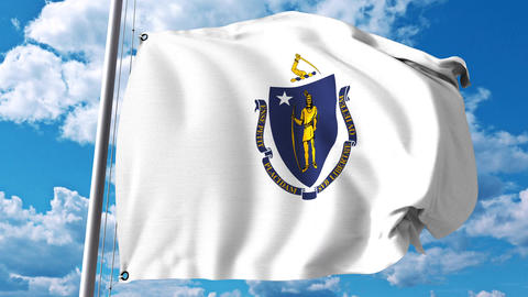 Waving flag of Massachusetts Footage
