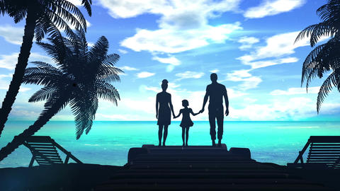 Family on the shore of the ocean Animation