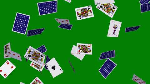 Playing Cards - Flying Around - II - Horizontal Loop Animation