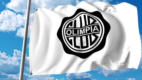 Waving flag with Club Olimpia football club logo. 4K editorial clip Live Action
