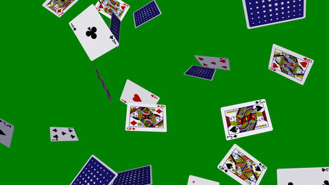Playing Cards - Flying Loop - V2 - Green Screen - 4K Animation