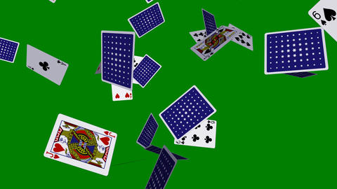 Playing Cards - Flying Loop - V2 - Green Screen - 4K Stock Video Footage