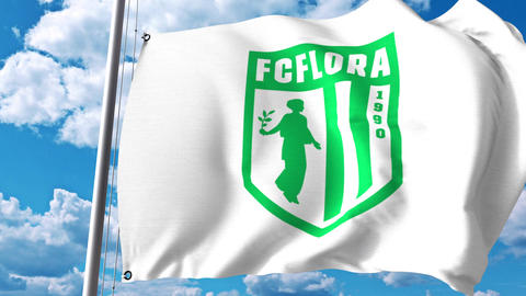 Waving flag with FC Flora football club logo. 4K…, Live Action