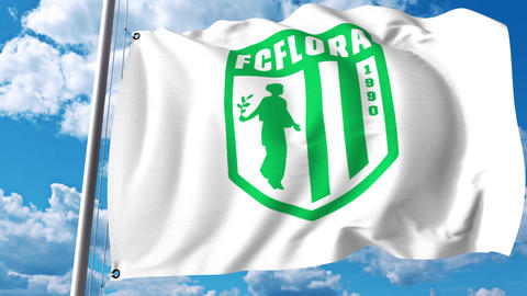 Waving flag with FC Flora football club logo. 4K editorial clip Live Action