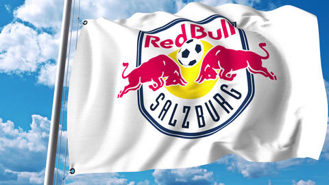 Waving flag with FC Red Bull Salzburg football club logo. 4K editorial clip Footage