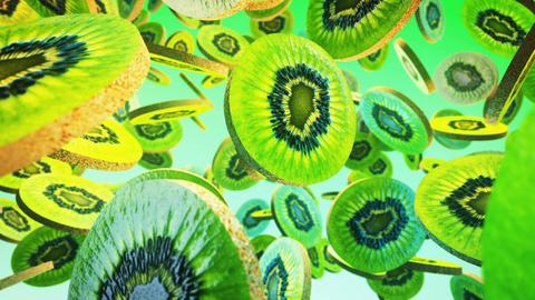 Falling fresh kiwi on green background. Close up. 4K Animation