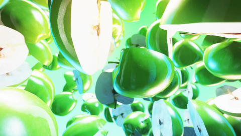 Falling green apples on green background. Close up. 4K Animation