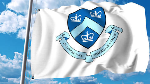 Waving flag with Columbia University emblem. 4K editorial clip Archivo