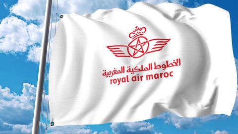 Waving flag with Royal Air Maroc logo. 4K editorial clip Footage