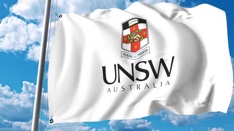 Waving flag with University of New South Wales emblem. 4K editorial clip Footage