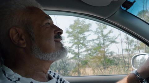 Senior Man Drives A Car In Summer Day, Man Enjoys Driving Footage