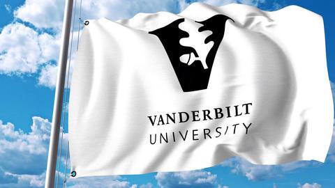 Waving flag with Vanderbilt University emblem. 4K editorial clip Footage