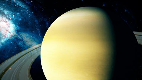 Realistic beautiful planet Saturn from deep space Animation