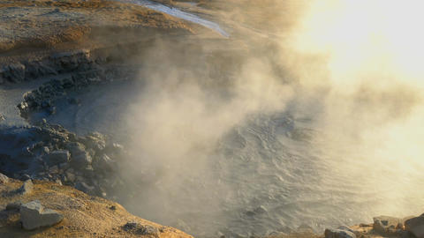 Boiling mud in the mudpot at Hverir geothermal area Footage