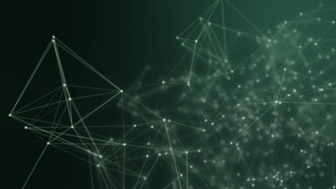 Abstract connected dots on bright green background. Technology concept Animation