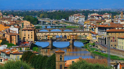 Old bridge and river Arno Footage