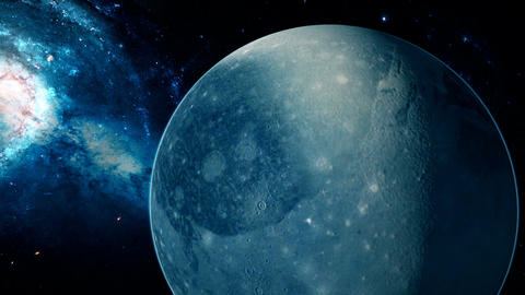 Realistic beautiful planet Pluto from deep space Animation