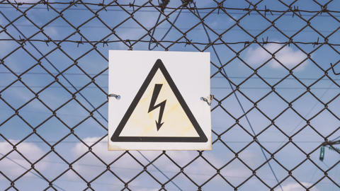 High-voltage power lines. Danger of electric shock. Danger to life. Warning of Footage
