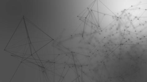 Abstract connected dots on bright grey background. Technology concept Animation