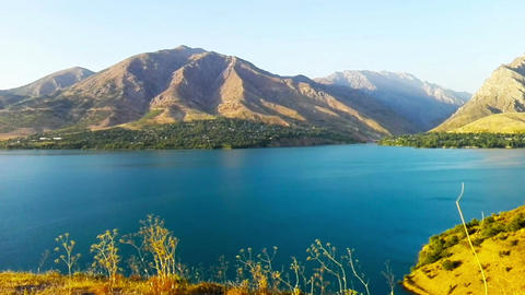 The Beautiful lake amongst mountains in Tashkent Footage