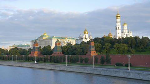 MOSCOW, RUSSIA, August 28, 2017: View of the Kremlin from the Great Moscow River Archivo
