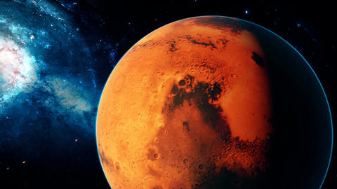 Realistic beautiful planet Mars from deep space Animation
