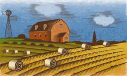 Farm landscape. Engraved Color Vector Illustration Vektor
