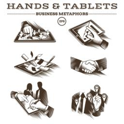 Hands and Tablets. Engraved Vector Vektor
