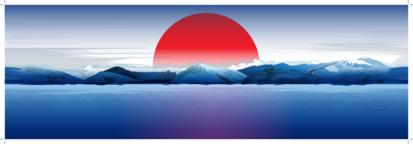 Sea, Mountains And Red Sun Vector