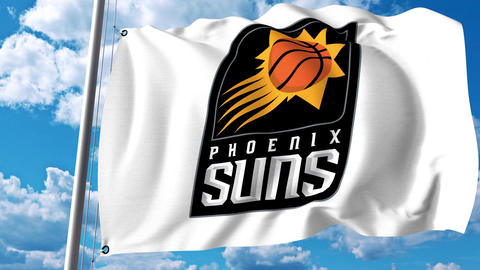 Waving flag with Phoenix Suns professional team logo. 4K editorial clip Footage