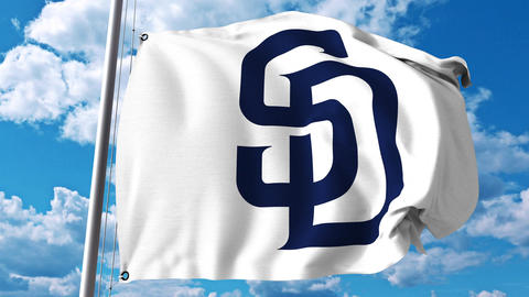Waving flag with San Diego Padres professional team logo. 4K editorial clip Footage