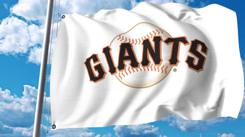 Waving flag with San Francisco Giants professional team logo. 4K editorial clip Footage