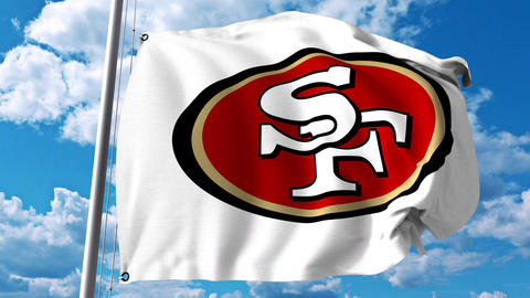 Waving flag with San Francisco 49Ers professional team logo. 4K editorial clip Footage