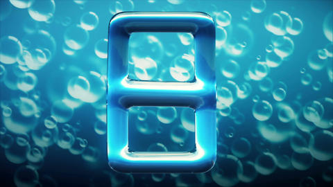 Liquid countdown on the background of water bubbles Animation