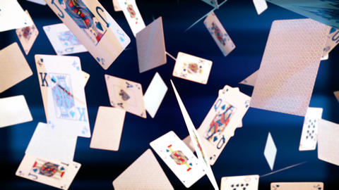 High quality animation of flying playing cards Animation
