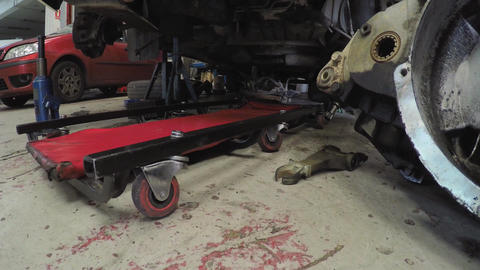 Mechanic Tools Under A Vehicle Footage