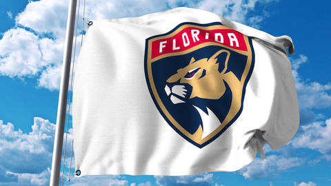 Waving flag with Florida Panthers NHL hockey team logo. 4K editorial clip Footage