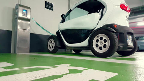 Renault Twizy Electric Car in Charge in an Underground Parking Footage