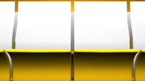 Yellow Folders And Documents On Yellow Background Animation