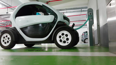 Renault Twizy Electric Car in Charge in an Underground…, Live Action