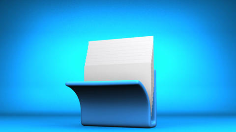 Blue Folder And Documents On Blue Background Animation