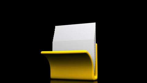 Yellow Folder And Documents On Black Background CG動画